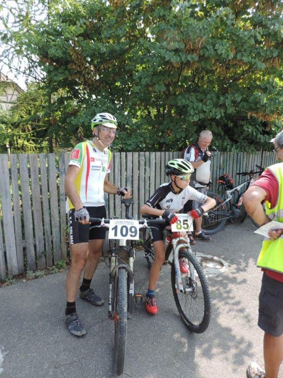 Patrick et Nicolas à la course VTT de Magstatt.